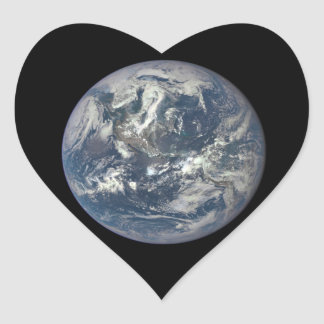 Earth, Space, America Heart Sticker