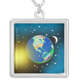 Earth, Sun and Moon Necklace