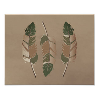 Earth Tone 2 Feathers on a Tan Texture Poster