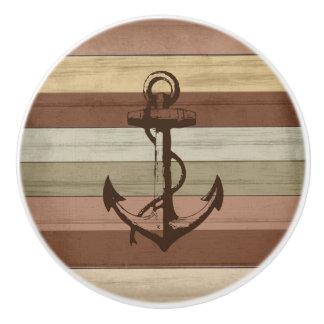 Earth Tone Colored Wood Nautical Stripes & Anchor Ceramic Knob