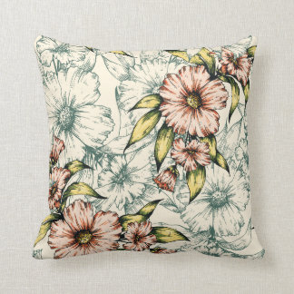 Earth Tone Fall Floral Decorative Throw Pillow