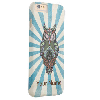 Earth Tone Green Owl Blue Ray and Name template Barely There iPhone 6 Plus Case