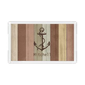 Earth Tone Nautical Weathered Wood Anchor Acrylic Tray
