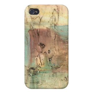 Earth Tone Painting with Cracked Surface Case For iPhone 4