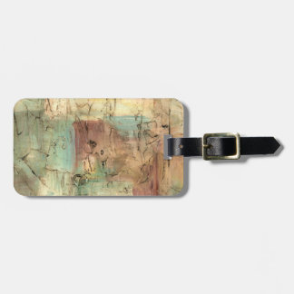 Earth Tone Painting with Cracked Surface Luggage Tag