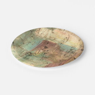 Earth Tone Painting with Cracked Surface Paper Plate