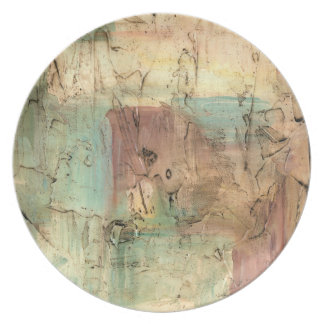 Earth Tone Painting with Cracked Surface Plate