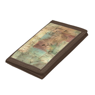 Earth Tone Painting with Cracked Surface Trifold Wallets