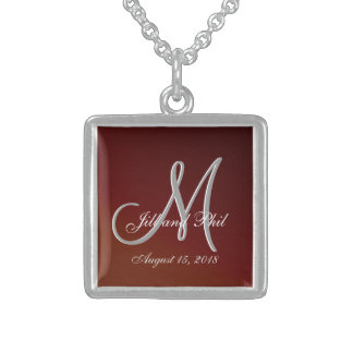 Earth Tone Red 3d Monogram Square Pendant Necklace