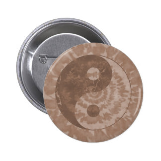 Earth Tone Tie Dye Yin Yang Symbol Button Pin