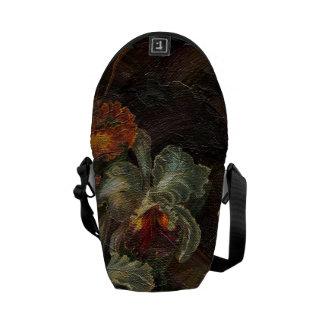 Earth Tone Vintage Flowers Messenger Bag