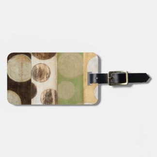 Earth Tone Wood Panel Painting with Circles Bag Tag