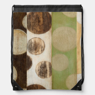 Earth Tone Wood Panel Painting with Circles Drawstring Bag