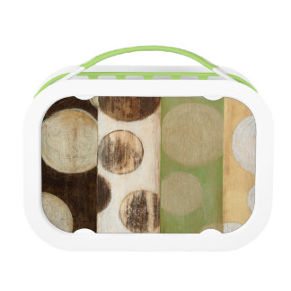 Earth Tone Wood Panel Painting with Circles Lunch Box