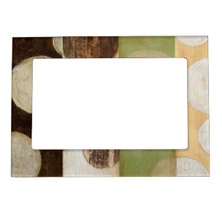 Earth Tone Wood Panel Painting with Circles Magnetic Frame