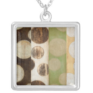 Earth Tone Wood Panel Painting with Circles Silver Plated Necklace