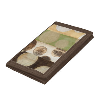 Earth Tone Wood Panel Painting with Circles Tri-fold Wallet