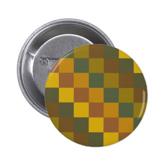 Earth toned chequered pattern. 6 cm round badge