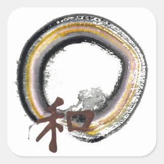 Earth toned Enso - Harmony Square Sticker