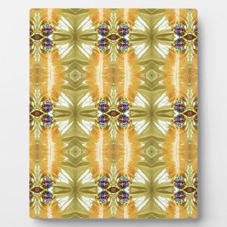Earth Toned Yellow Green Tribal Pattern Display Plaques