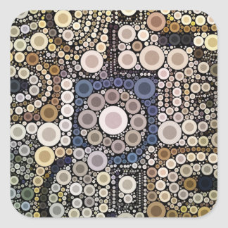 Earth Tones Concentric Circles Mosaic Pattern Square Stickers