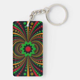 Earth Tones Funky Pattern Flowers Stripes Double-Sided Rectangular Acrylic Key Ring