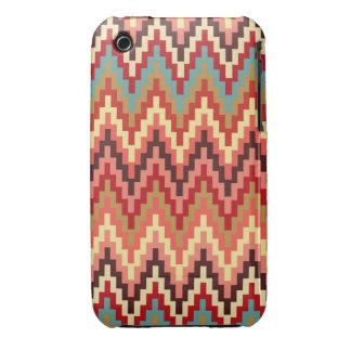Earth Tones Ikat Chevron Zig Zag Stripes Pattern Case-Mate iPhone 3 Case