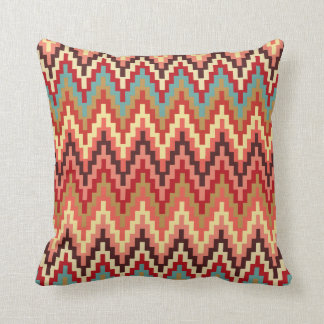 Earth Tones Ikat Chevron Zig Zag Stripes Pattern Pillow