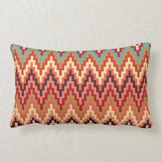 Earth Tones Ikat Chevron Zig Zag Stripes Pattern Lumbar Pillow
