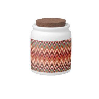 Earth Tones Ikat Chevron Zig Zag Stripes Pattern Candy Jars