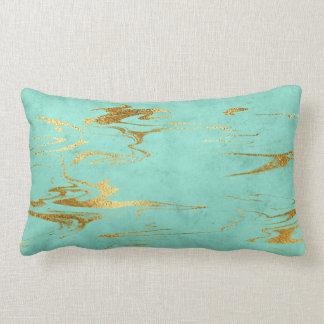 Earth Tones Mint Green Gold Blue Marble Lumbar Cushion