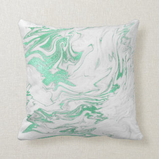 Earth Tones Mint Green Gray White Marble Cushion