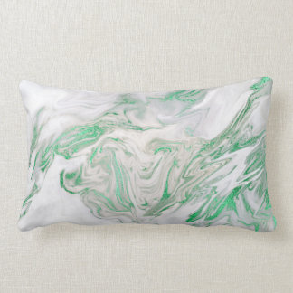 Earth Tones Mint Green Gray White Marble Lumbar Cushion