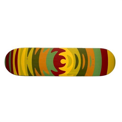 Earth Tones Saw Blade Teeth Ripple Waves Custom Skate Board