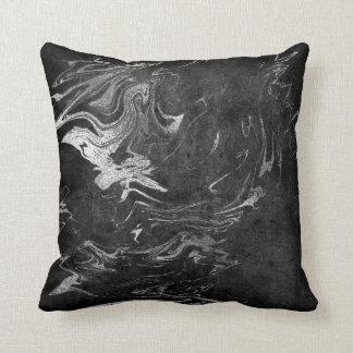 Earth Tones Silver Black Gray Graphite Marble Cushion