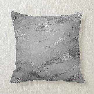 Earth Tones Silver Gray Graphite Marble Cushion
