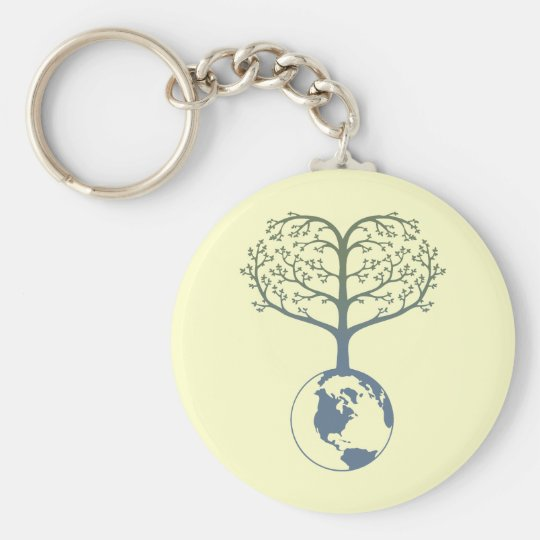Earth Tree Heart Basic Round Button Key Ring