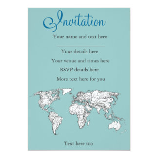 Earth turquoise ink 13 cm x 18 cm invitation card