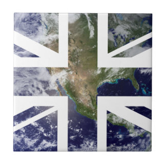 Earth Union Jack British(UK) Flag Small Square Tile