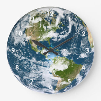 Earth wall clock with numbers