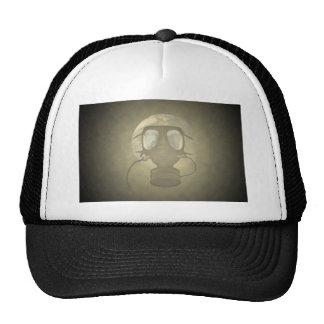 Earth wearing a gas mask trucker hats
