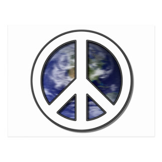 Earth White Peace Sign7 Postcard