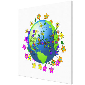 Earth with Flowers Canvas Prints