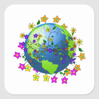 Earth with Flowers Sticker