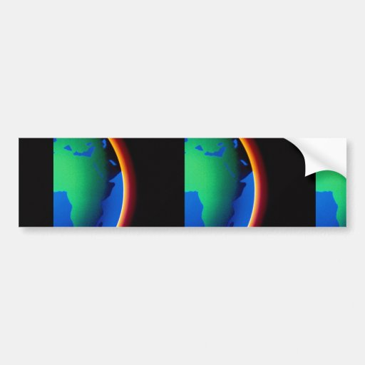 Earth with glowing atmosphere bumper stickers