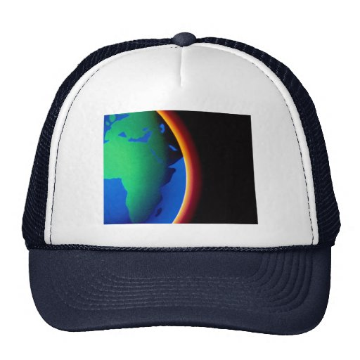 Earth with glowing atmosphere hats