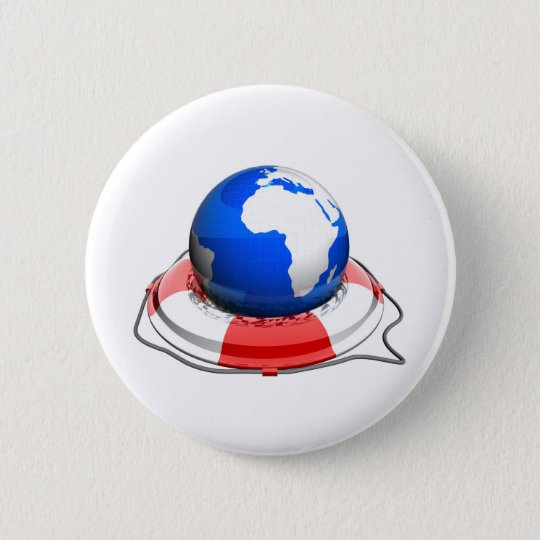 earth with life belt 6 cm round badge