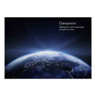 Earth with lights of Europe Chiropractic Poster