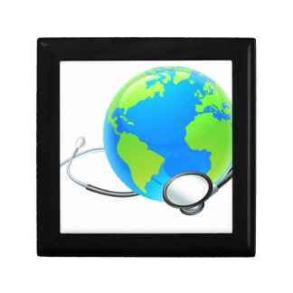 Earth World Globe Stethoscope Health Concept Small Square Gift Box