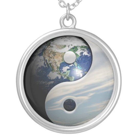 Earth Yin and Yang Symbol Silver Plated Necklace